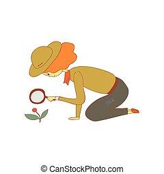 vetorial, dela, ilustração, luppa, experiência., espiar, menina, branca, hands.