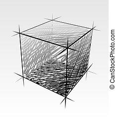 vetorial, desenhado, cubo, isolado, mão
