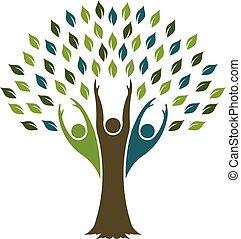 vetorial, desenho, árvore, liberdade, logo., gráfico