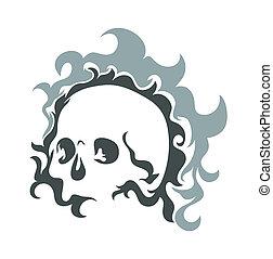 vetorial, desenho, cranio