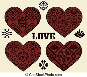 vetorial, desenho, dia, elementos, valentine