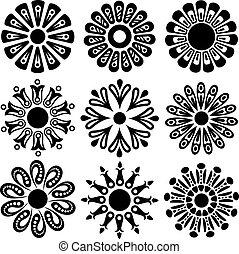 vetorial, desenho, flor, elementos