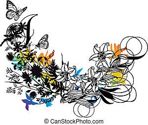 vetorial, desenho, floral