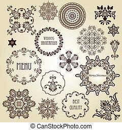 vetorial, desenho, vindima, elementos