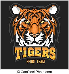 vetorial, desporto, emblema, rosto, tiger