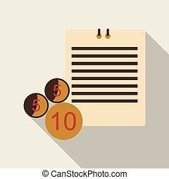 vetorial, dez, formato, text., número, papel, cinco, a4, shadowsand, moeda