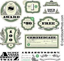 vetorial, dinheiro, quadro, jogo, ornamento