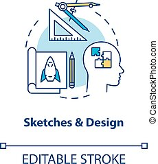 vetorial, drawing., cor, paperwork, illustration., desenho, esboço, criativo, apoplexia, groundwork, plano, step., processo, conceito, linha, rgb, editable, idéia, magra, icon., isolado, formando, esboços