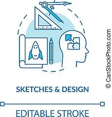 vetorial, drawing., cor, paperwork, illustration., desenho, esboço, criativo, process., apoplexia, groundwork, plano, conceito, linha, rgb, editable, idéia, magra, icon., isolado, formando, esboços