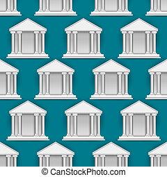 vetorial, edifícios, padrão, bancos, seamless