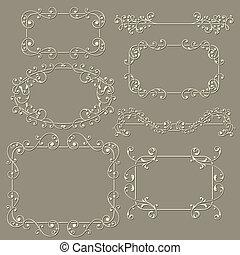 vetorial, elementos florais, desenho, lacy, vindima