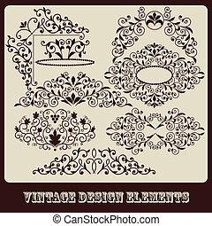 vetorial, elementos florais, desenho, vindima
