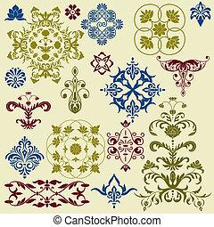 vetorial, elementos florais, luminoso, desenho, vindima