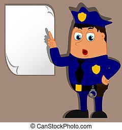 vetorial, em branco, policial