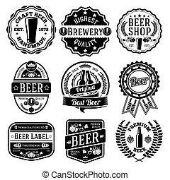 vetorial, emblems., cerveja, jogo, etiquetas