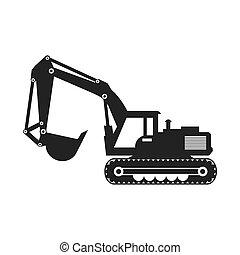 vetorial, escavador, concept., sob, hidráulico, construção, gra, icon.