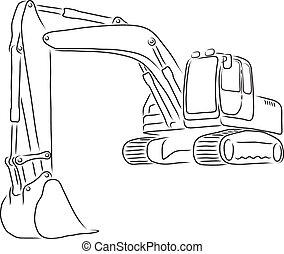 vetorial, escavador, ilustração, esboço