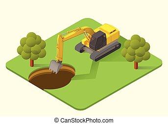 vetorial, escavador, ilustração