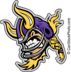 vetorial, esportes, chifres, rosnando, lmage, mascote, capacete viking, futebol, americano, gráfico