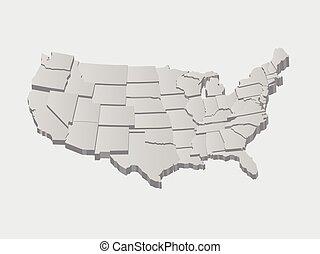 vetorial, estados unidos, mapa, 3d