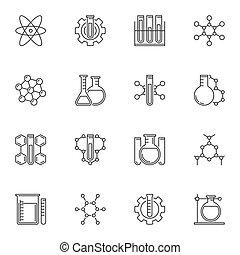 vetorial, estilo, ícones conceito, químico, jogo, linha magra