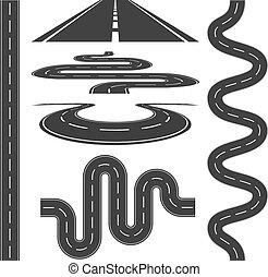 vetorial, estradas, ícones, jogo, ilustração, rodovias