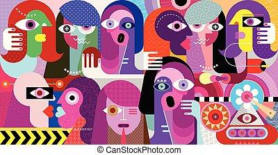 vetorial, estranho, grupo, ilustração, pessoas