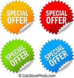 vetorial, etiquetas, especiais, oferta