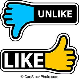 vetorial, etiquetas, polegar, unlike, semelhante