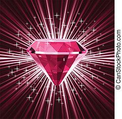 vetorial, experiência., luminoso, diamante, vermelho