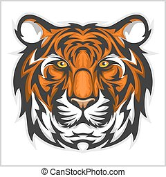 vetorial, face., tiger, head., tigres, ilustração