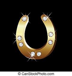 vetorial, ferradura, ouro, ícone