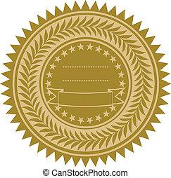 vetorial, fita ouro, selo