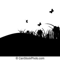 vetorial, flor, capim, ilustração, banner.
