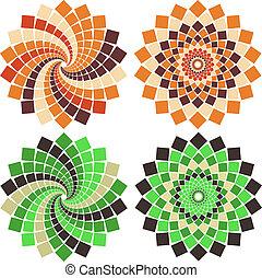 vetorial, flor, mosaico