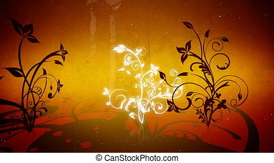 vetorial, flores, 4, volta