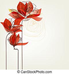 vetorial, flores, cartão cumprimento