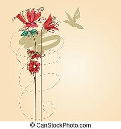 vetorial, flores, colibri