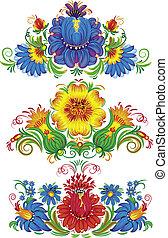 vetorial, flores, ilustração