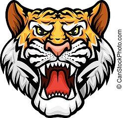 vetorial, focinho, tiger, rugindo, ícone, mascote, cabeça