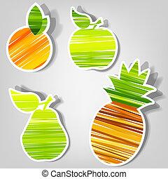 vetorial, fresco, jogo, stickers., fruta