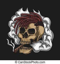 vetorial, fumaça, ilustração, cranio