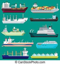 vetorial, fundo, despacho, comércio, exportação, negócio, recipiente, industrial, remessa, carga, frete, isolado, transporte, navio, porto ilustração, jogo, transporte