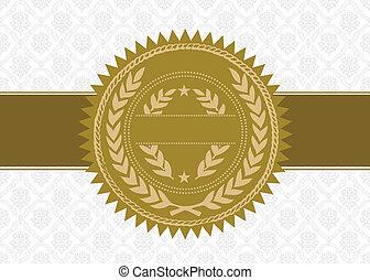 vetorial, fundo, distinção, selo ouro