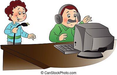 vetorial, furiosamente, ilustração, olhar, computador, unplugged, homem