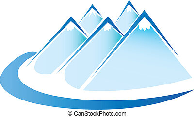 vetorial, gelo, logotipo, montanhas azuis