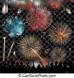 vetorial, gráfico, silueta, mostrar, exposição, fogos artifício, pessoas, celebração, jogo, observar, feriado, noturna, elementos, festivo