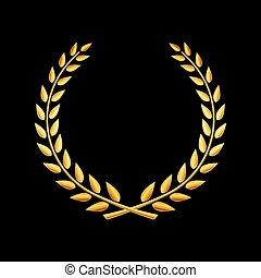 vetorial, grinalda loureiro, ouro, distinção