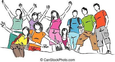 vetorial, grupo, adolescentes, ilustração, pessoas