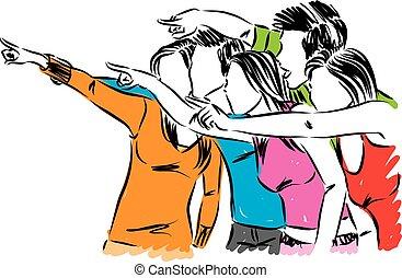 vetorial, grupo, ilustração, apontar, pessoas